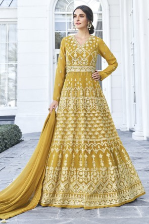 Designer Mustard Embroidered Georgette Abaya Style Anarkali Suit With Nazmin Dupatta