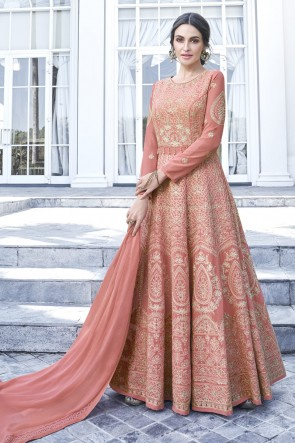 Peach Georgette Embroidered Abaya Style Anarkali Suit With Nazmin Dupatta