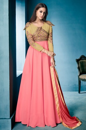 Ultimate Pink and Cream Georgette Embroidered Work Gown