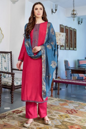 Pink Embroidered Silk Casual Salwar Suit With Cotton Dupatta