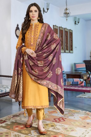 Delightful Mustard Embroidered Cotton Casual Salwar Suit And Dupatta