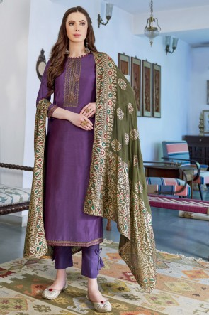 Charming Wine Embroidered Silk And Cotton Casual Salwar Kameez And Dupatta