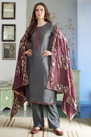 Lovely Embroidered Grey Cotton Casual Salwar Kameez And Cotton Bottom