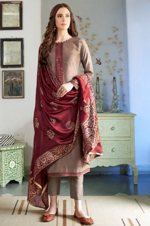 Gorgeous Silk And Cotton Coffee Embroidered Casual Salwar Suit And Dupatta