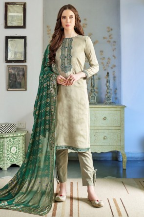 Party Wear Pista Embroidered Casual Salwar Suit With Cotton Dupatta