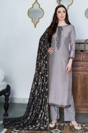 Grey Embroidered Silk Casual Salwar Suit And Cotton Dupatta