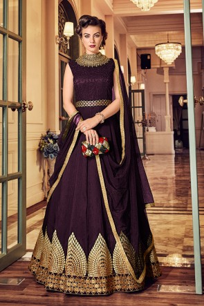 Classic Purple Banglori Silk Embroidered Designer Anarkali Salwar Suit