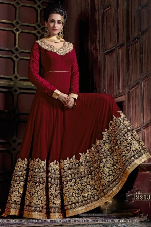 Gorgeous Maroon Georgette Embroidered Anarkali Salwar Suit With Viscose Dupatta