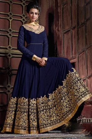 Pretty Navy Blue Georgette Embroidered Anarkali Salwar Suit With Viscose Dupatta