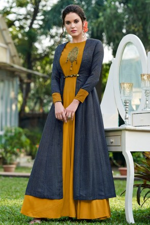 Tussar Silk Fabric Mustard And Grey Embroidered Stylish Gown