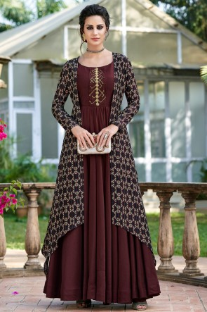 Marvelous Brown Embroidered Designer Tussar Silk Fabric Gown