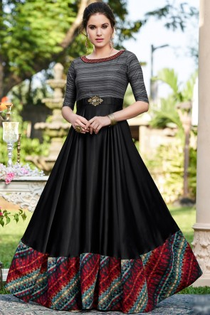 Black Cotton Embroidered Excellent Gown