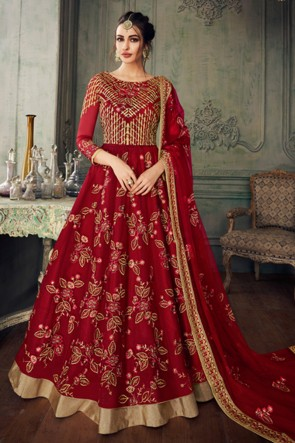 Red Embroidered Net Anarkli Suit And Dupatta