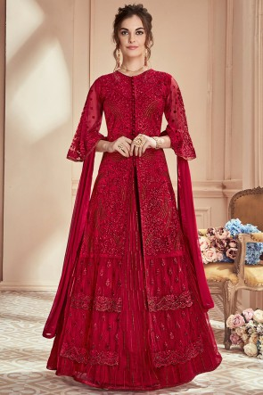 Red Net Fabric Embroidered And Thread Work Designer Anarkali Suit With Chiffon Nazmin Dupatta