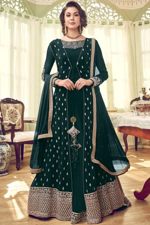 Beautiful Georgette Fabric Embroidery And Diamond Work Anarkali Suit And Dupatta