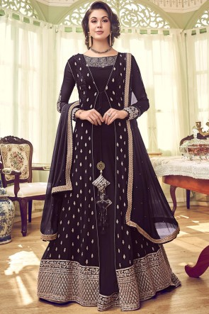 Heavy Designer Wine Embroidered Abaya Style Anarkali Suit With Georgette Dupatta