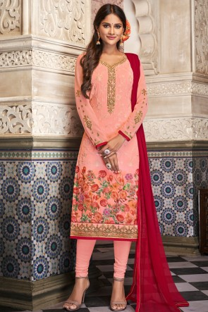 Charming Peach Georgette Digital Print And Embroidered Salwar Suit With Nazmin Dupatta