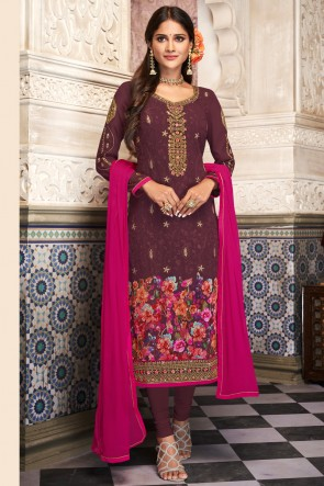 Purple Digital Print And Embroidered Georgette Casual Salwar Suit And Santoon Bottom