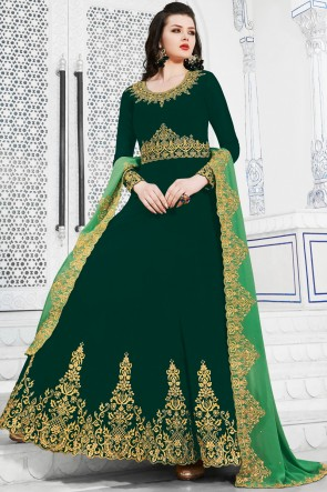 Delightful Green Embroidered Designer Georgette Salwar Suit And Dupatta
