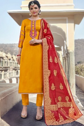 Party Wear Mustard Embroidered And Stone Work Salwar Suit With Chiffon Dupatta