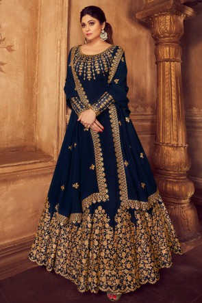 Charming Navy Blue Embroidered Georgette Shamita Shetty Anarkali Suit And Dupatta