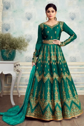 Appealing Teal Shamita Shetty Embroidered Silk Anarkali Suit With Nazmin Dupatta