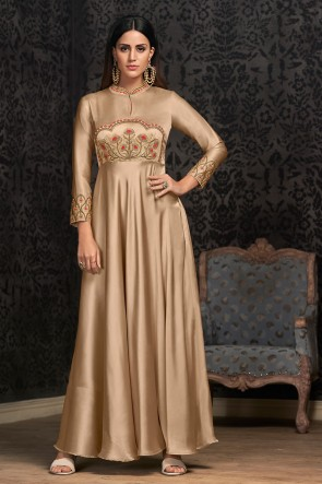 Cream Silk Fabric Embroidered Excellent Gown