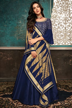 Lovely Embroidered Navy Blue Cotton Anrkali Suit With Net Dupatta