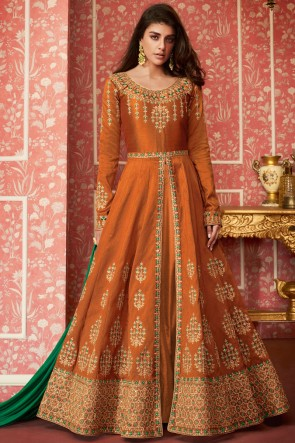 Admirable Silk Embroidered Mustard Anarkali Suit With Nazmin Dupatta