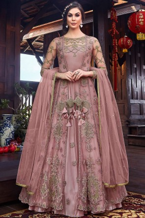 Wine Net Fabric Thread Work And Embroidered Abaya Style Anarkali Suit And Dupatta