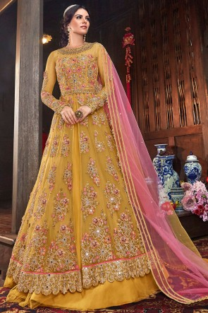 Net Fabric Yellow Embroidered Designer Abaya Style Anarkali Suit And Dupatta