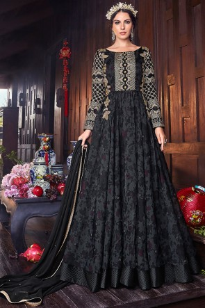 Thread And Embroidery Work Black Organza Fabric Abaya Style Anarkali Suit With Chiffon Dupatta