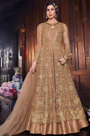 Gorgeous Beige Net Fabric Embroidered Anarkali Suit And Silk Bottom