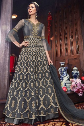 Classic Grey Thread Work Net Fabric Abaya Style Anarkali Suit And Silk Bottom