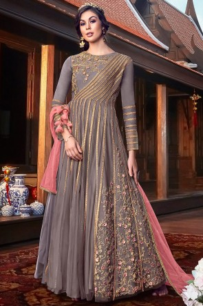 Net Fabric Grey Embroidery And Thread Work Anarkai Suit And Santoon Bottom