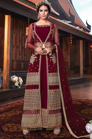 Embroidered And Thread Work Maroon Georgette Bottom Plazzo Suit With Net Dupatta