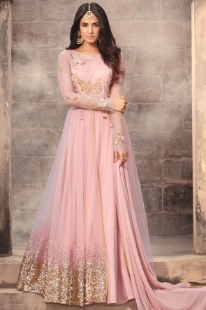 Sonal Chauhan Baby Pink Net Fabric Embroidery And Stone Work Abaya Style Anarkali Suit And Dupatta