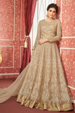 Appealing Beige Embroidered Net Anarkali Suit And Dupatta