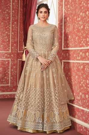 Pleasing Beige Net Embroidered Anarkali Suit And Dupatta