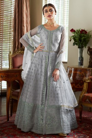 Lovely Grey Embroidered Net Anarkali Suit With Net Dupatta