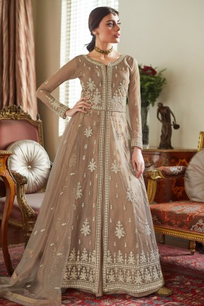 Gorgeous Net Embroidered Beige Anarkali Suit With Net Dupatta