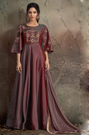 Superb Brown Embroidered Tapeta Anarkali Suit With Nazmin Dupatta