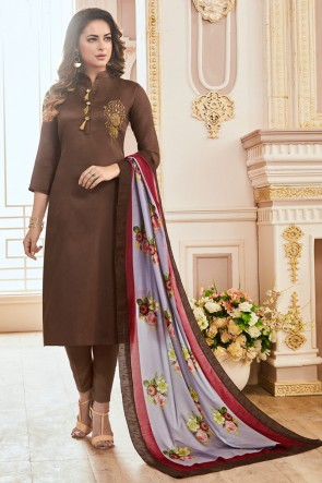Delightful Brown Hand Work Cotton Casual Salwar Suit With Maslin Dupatta