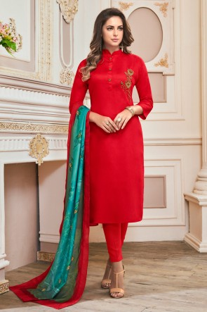 Party Wear Red Cotton Hand Work Casual Salwar Suit With Maslin Dupatta
