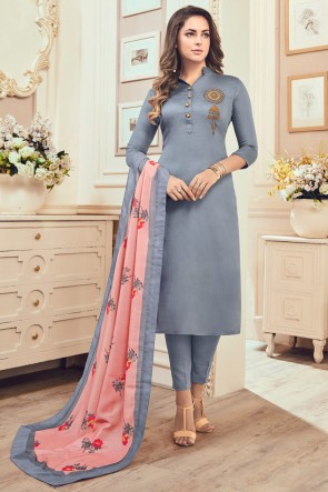 Grey Cotton Hand Work Casual Salwar Suit With Maslin Dupatta
