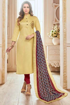 Yellow Hand Work Cotton Casual Salwar Suit With Maslin Dupatta