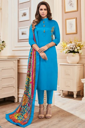 Delightful Sky Blue Hand Work Cotton Casual Salwar Suit With Maslin Dupatta