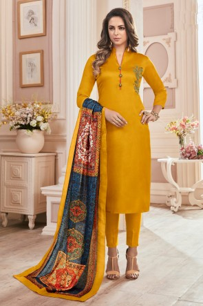Charming Yellow Hand Work Cotton Casual Salwar Kameez With Maslin Dupatta