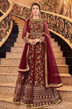 Fascinating Maroon Embroidered Net Anarkali Suit With Net Dupatta