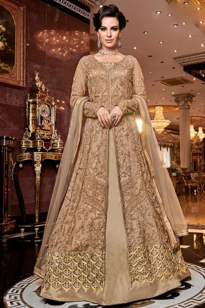 Admirable Golden Embroidered Net Anarkali Suit With Net Dupatta